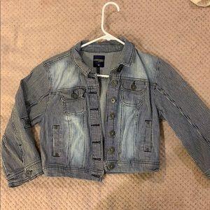 Striped Crop Jean Jacket